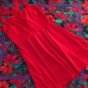 Forever 21 Classy Red Dress with Criss Cross Strap